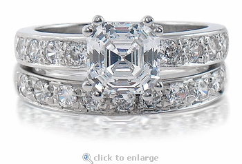 Asscher 1.5 Carat Royal Crown Cubic Zirconia Double Prong Pave Bridal Set