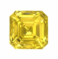 Asscher Cut Canary Yellow Diamond Look Cubic Zirconia Loose Stones