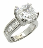 Asscher Cut Cubic Zirconia Channel Set Baguette Solitaire Engagement Rings
