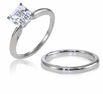 Asscher Cut Cubic Zirconia Classic Solitaire Engagement Rings with Matching Wedding Bands