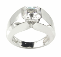 Asscher Cut Cubic Zirconia Semi Bezel Set V Design Solitaire Engagement Rings
