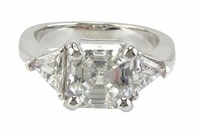 Asscher Cut with Trillions Three Stone Cubic Zirconia Engagement Rings