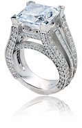 Aston 7 Carat Princess Cut Cubic Zirconia Micro Pave Set Solitaire Engagement Ring