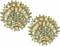 Atlantis Baguette and Round Cubic Zirconia Cluster Earrings
