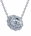 Aurelia 1 Carat Round Prong Set Halo Scalloped Pendant Necklace
