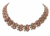 Autumn Vintage Oval Round Cubic Zirconia Cluster Statement Necklace