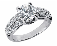 Avanti Round Cubic Zirconia U Shaped Pave Set Solitaire Engagement Ring Series