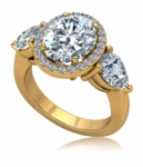 Aviva 2.5 Carat Oval Halo Pear Sides Engagement Ring