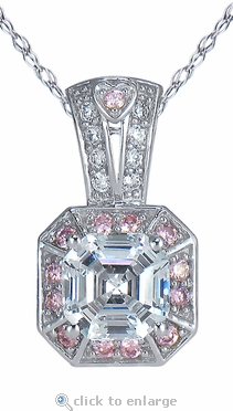 Azzer 2.5 Carat Asscher Cut Cubic Zirconia Simulated Pink Diamond Look Halo Pendant