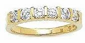 Bar Channel Set Cubic Zirconia Round Anniversary Band
