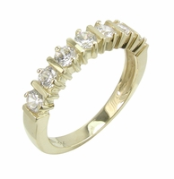 Bar Prong Set Cubic Zirconia Round Anniversary Band