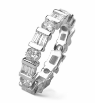Bar Set Round Alternating Double Baguette Cubic Zirconia Eternity Band 14k White Gold