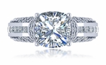 Barella 5.5 Carat Cushion Cut Cubic Zirconia Channel Princess Pave Engagement Ring