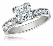 Bellevue 1 Carat Princess Cut Cubic Zirconia Channel Set Rounds Solitaire Engagement Ring