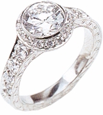 Bellivi 1.5 Carat Bezel Set Round Cubic Zirconia Pave Antique Estate Style Solitaire