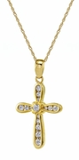 Bentley Channel Set Cubic Zirconia Round Cross Pendant