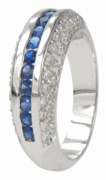 Berkley Channel Set Simulated Sapphire Gem Pave Cubic Zirconia Anniversary Band