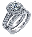 Bettina 1.5 Carat Round Cubic Zirconia Cathedral Pave Halo Wedding Set