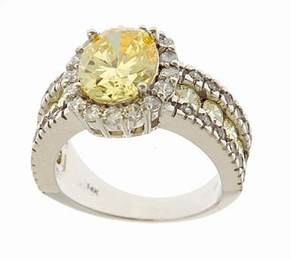 Beudreau 2.5 Carat Oval Canary Cubic Zirconia Halo Solitaire Engagement Ring