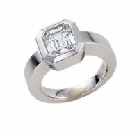 Bexo Bezel Set 1.5 Carat Asscher Cut Cubic Zirconia Solitaire Engagement Ring