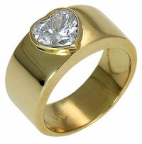 Bezel Heart Cigar Band 1 Carat Cubic Zirconia Solitaire Engagement Ring