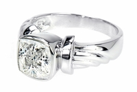 Bezel Set 2.5 Carat Cushion Cut Cubic Zirconia Ribbed Solitaire Engagement Ring