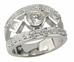 Bezel Set .75 Carat Round Princess Cut Cubic Zirconia Pave Band