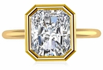 Bezellia 2.5 Carat Emerald Cut Cubic Zirconia Bezel Set Solitaire Engagement Ring