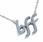 BFF Best Friends Forever Prong Set Round Cubic Zirconia Necklace