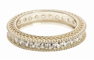 Biscayne Pave Set Round Engraved Cubic Zirconia Eternity Band