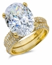 Blake 9 Carat Oval Cubic Zirconia Micro Pave Wedding Set