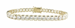 Box Radiant Cut Cubic Zirconia Bezel Set Tennis Bracelet