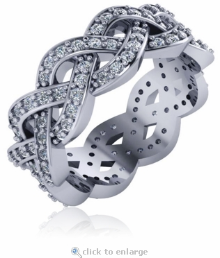 Braided Pave Set Cubic Zirconia Round Eternity Wedding Band