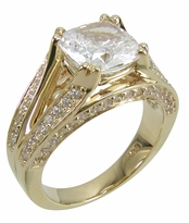 Bridgette 2.5 Carat Cushion Cut Cubic Zirconia Cathedral Solitaire Engagement Ring