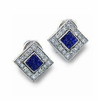 Brill Princess Cut Bezel Channel Set Square Cubic Zirconia Halo Earrings