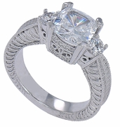 Briston Cushion Cut Cubic Zirconia Antique Estate Style Three Stone Engraved Solitaire Engagement Ring