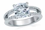 Britney 1.5 Carat Cushion Cut Cubic Zirconia Micro Pave Set Split Shank Solitaire Engagement Ring