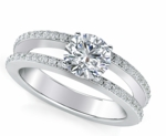 Britney 2 Carat Round Cubic Zirconia Micro Pave Split Shank Engagement Ring