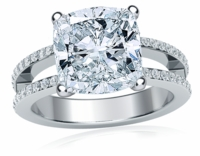Britney 4 Carat Cushion Cut Cubic Zirconia Micro Pave Set Split Shank Solitaire Engagement Ring