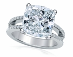 Britney 5.5 Carat Cushion Cut Cubic Zirconia Micro Pave Set Split Shank Solitaire Engagement Ring