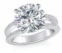 Britney 5.5 Carat Round Cubic Zirconia Micro Pave Split Shank Engagement Ring