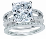 Britney Cushion Cut Cubic Zirconia Micro Pave Split Shank Wedding Set