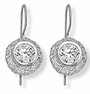 Brunini 2.5 Carat Round Bezel Set Cubic Zirconia Pave Halo Wire Drop Earrings