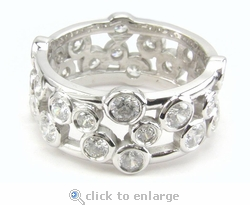Bubbles Bezel Set Round Cubic Zirconia Eternity Band