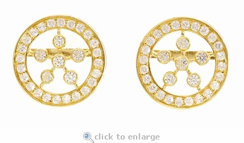 Bugatti Pave Set Cubic Zirconia Round Button Style Earrings