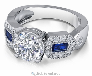 Bulletta 2 Carat Round Cubic Zirconia Man Made Simulated Sapphire Baguette Solitaire Engagement Ring