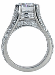 Burke 4 Carat Round Cubic Zirconia Pave Set Cathedral Split Shank Solitaire Engagement Ring