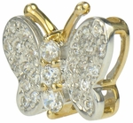 Butterfly Pave Set Round Cubic Zirconia Pendant