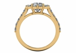 Cadence 1.5 Carat Cushion Cut Square Halo Pave Cathedral Solitaire Engagement Ring