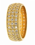 Calle Three Row Pave Set Round Cubic Zirconia Eternity Band